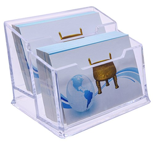 MINI SKATER Business Card Case Holders 2 Tier Collection Plastic Premium Acrylic Clear Display Desktop Table Countertop Stand Organizer for Office - Display Case 2 Tier