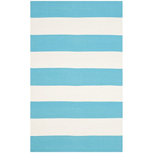 lection MTK712N Handmade Flatweave Turquoise and Ivory Cotton Area Rug (2'6
