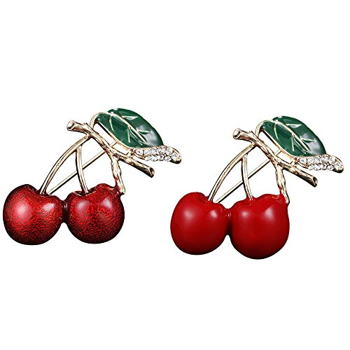Alonea Brooch Pins, Red Enamel Cherry Metal Brooch Pin Button Crystal Brooch Sweater Clip Jewelry 2 Pack❤️ (Corsage Ring Platinum Ring)