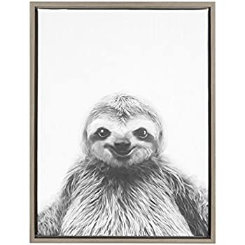 Kate and Laurel - Sylvie Animal Print Sloth Black and White Portrait Framed Canvas Wall Art by Simon Te Tai, Gray 18x24