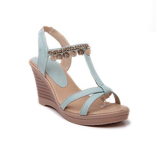 Adee Ladies Fashion Cuñas high-heels material suave sandalias Azul - azul