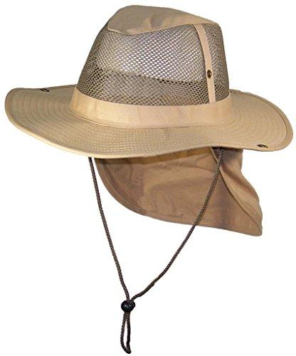 Tropic Hats Summer Wide Brim Mesh Safari/Outback W/Neck Flap & Snap Up Sides - Khaki - Safari Headgear Hat