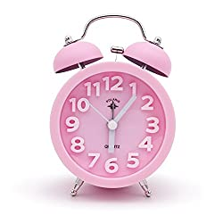 OSMOFUZE Twin Bell Alarm Clock Cute Bedside Classic Retro Wake Up Morning Clock Analog Quartz No-Ticking Hands Best for Heavy Sleepers (Pink)