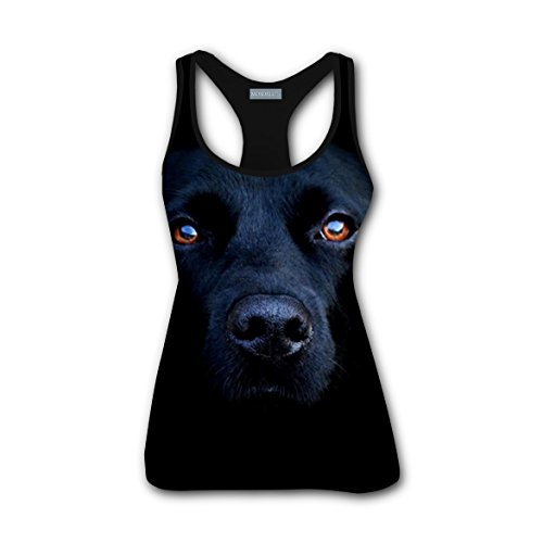 rihtuues Women's Black Labrador Retrievers Base Dry Fit Tank Top Scoop-Neck Shirt - M (Scallop Top Scoop Petite)