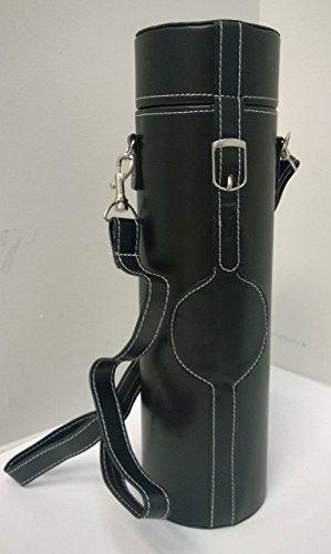 Wine Bottle Carrier in Black Faux Leather with detatchable shoulder strap CLOSEOUT!!!