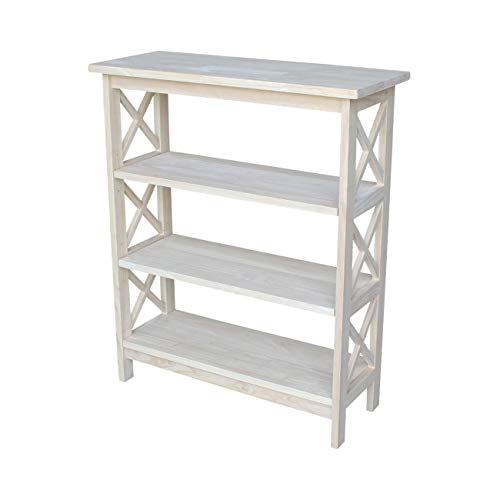 - International Concepts SH-3630X 3-Tier X-Sided Bookcase, Unfinished