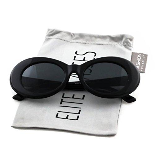 Elite Vintage NIRVANA Kurt Cobain Round Sunglasses For Women Men Eyewear (Black-Black, - Oversized Sunglasses Oval