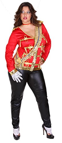 Sexy Adult Celebrity Michael Jackson Plus Size Halloween Costume for Women 7X (26-28) Red/Gold