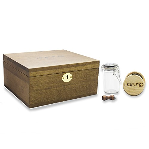 Hakuna Walnut Lock Box Bundle - Smoke Accessories Kit w/ Rem