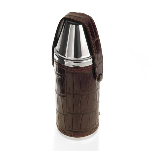 Leather Hunting Flask With Two Cups by F. Hamman
