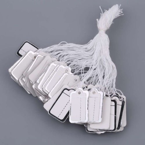 FlyerShop(TM) Bulk 100pcs Labels Tie String Strung Price Tickets Jewelry Cloth Display Tags ()