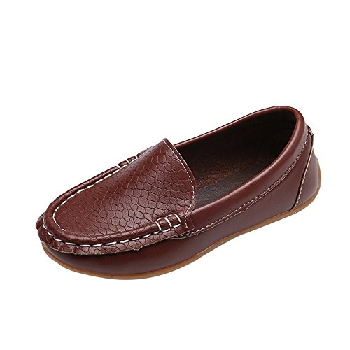 Tantisy ♣↭♣ Girls Boys Loafers  Leather Candy Color Lazy Sneaker Casual Boat Shoes Soft Shoes for Big Kid/Infant Brown