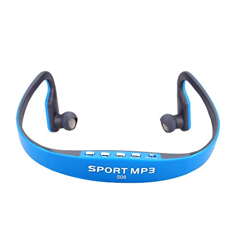 Andoer Portable Sport Wireless TF FM Radio Headset Headphone Earphone Music MP3 Player with Mini USB Port Blue