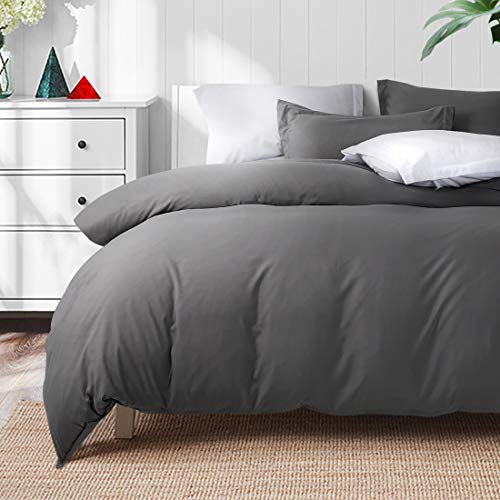 TEKAMON Luxury 3 Piece Duvet Cover Set – Ultra Soft Breathable 100% Brushed Microfiber Hotel Collection Bedding – 1 Comforter Cover with Zipper Closure Matching 2 Pillow Shams (Queen Size, Dark Grey)