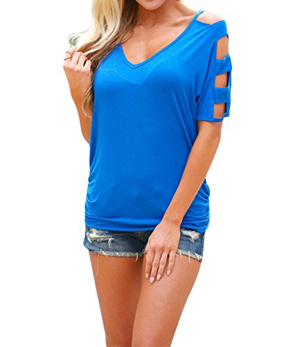 Shawhuwa Womens Sexy Cold Shoulder Ruched Sides Casual T-shirt Tops L A-blue (Cheap Sexy School Girl Outfits)