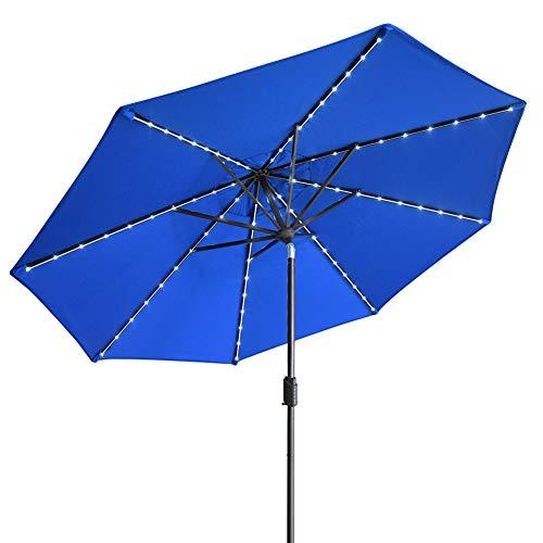 EliteShade Solar Umbrellas Sunbrella 9ft Market Umbrella with 80 LED Lights Patio Umbrellas Outdoor Table Umbrella with Ventilation (Sunbrella LED Royal Blue)