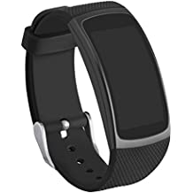 Gear Fit2 Bands, GHIJKL Silicone Replacement Strap for Samsung Gear Fit 2 & 2 Pro Tracker (New Black)