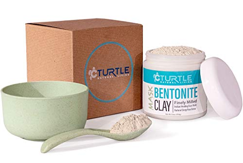 Bentonite Clay 16 oz Healing Face Mask Gift Set With Bowl and Spoon - Best Cleansing Facial for Pore Detox and Acne Treatment. Organic Natural Sodium, Calcium Powder