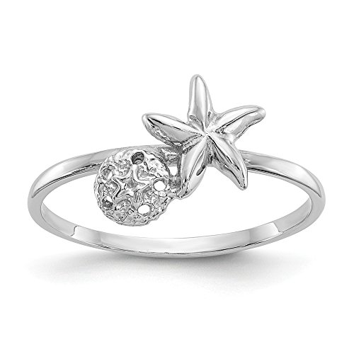White Lighthouse Gold - 14k White Gold Starfish Sand Dollar Sea Star Band Ring Size 7.00 Shell Life Fine Jewelry Gifts For Women For Her