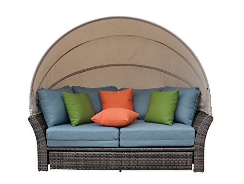 - Coutyard Casual Taupe Eclipse Outdoor Expandable Oval Daybed with Canopy