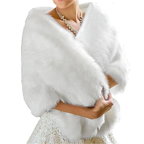BanZhang Winter Wedding Faux Fur Shawl Wrap Bolero Prom Evening Party Formal