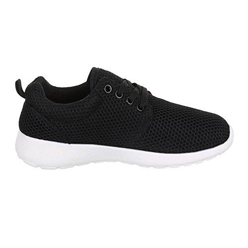 Ital-Design Low-Top Sneaker Damenschuhe Low-Top Sneakers Schnürsenkel Freizeitschuhe Schwarz