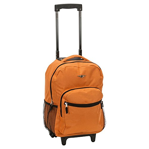 Rockland Luggage 17 Inch Rolling Backpack, Burnt ORANGE