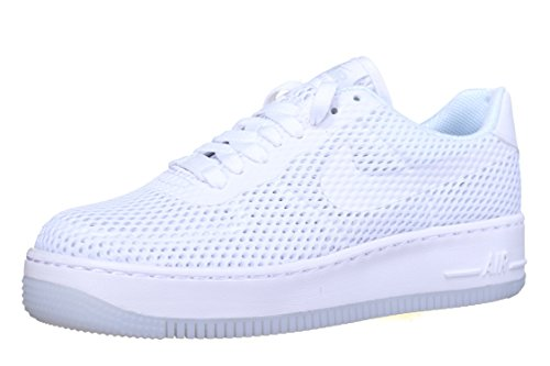 Nike womens AF1 air force 1 low upstep BR trainers 833123 sneakers shoes (US 9.5, white white 100) (Nike Air Force One Wedge Sneakers)
