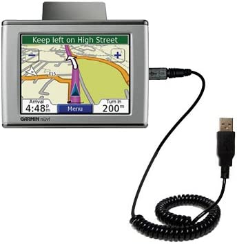 Gomadic Coiled Power Hot Sync USB Cable for The Garmin Nuvi 650 with Both Data and Charge Features Uses TipExchange Technology