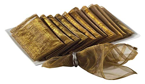 Sheer Decorative Organza Dinner Napkins, 20-inch Square, Set of 12 (Gold) (Napkins Gold Fabric)