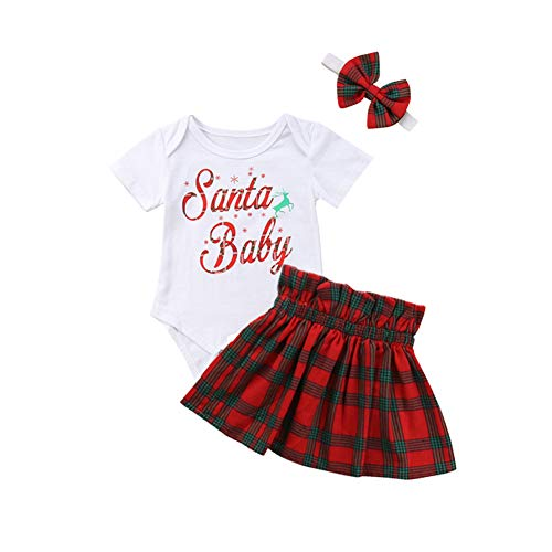 Christmas Newborn Infant Baby Girl Clothes Short Sleeve Romper Skirt Headband 3pcs Set Outfit Santa Baby Print (80(3-9M)) -