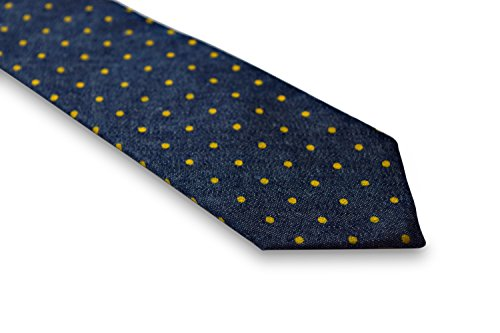 cotton and Frederick navy Thomas mens blue 100 yellow spotty design tie t88wPTqc