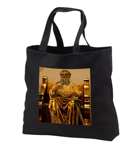 Jos Fauxtographee Realistic - A Gold Statue of a Bearded Man Sitting at a Throne in The Catholic Church of Worship - Tote Bags - Black Tote Bag JUMBO 20w x 15h x 5d (tb_52129_3) by 3dRose
