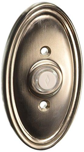 Solid Brass Oval Style Buzzer Button In Satin Nickel. Antique Doorbell Button.