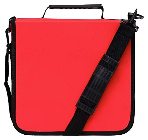 Blue Donuts 288 Capacity CD/DVD Binder Storage Holder Organizer Carrying Case, Red
