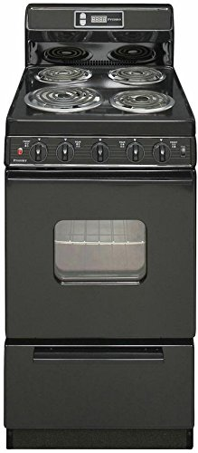 EAK220BP Black 20'''' Electric Range with 2.4 Cu. Ft. Capacity One 8'''' Coil Element Three 6'''' Coil Elements 8'''' Porcelain Backguard with Electronic Clock and Windowed Oven Door with Interior Oven Light by Premier