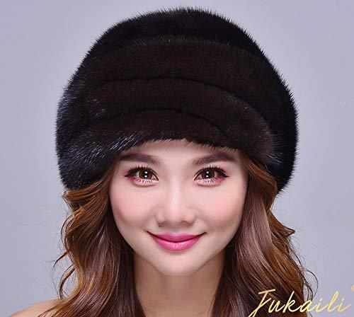 SUNLMG Natural Mink Fur Cap Women Knitted Hats for Winter Bone Fashion Warm Travel Warm/Beret/Elegant for Travel/Gift/Ski/Holiday,B,M