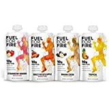 Fuel For Fire - Fruit & Protein Smoothie Squeeze Pouch 4.5 oz - Perfect for Workouts, Kids, Snacking - Gluten-Free, Soy-Free, Kosher, No Added Sugar (Variety - Team Sports, 12-Pack)