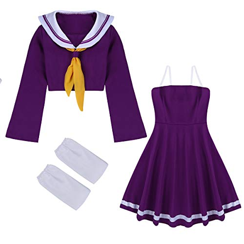 (Agoky Women Girls Sailor Suit Cosplay Costume Uniform no Game no Life Shiro Outfit Halloween Dress Purple)