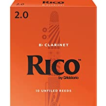 Rico Bb Clarinet Reeds, Strength 2.0, 10-pack
