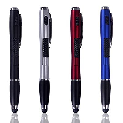 HDE 3-in-1 Multifunction Touch Screen Stylus Flashlight Ball Point Pen for Capacitive Electronic Devices