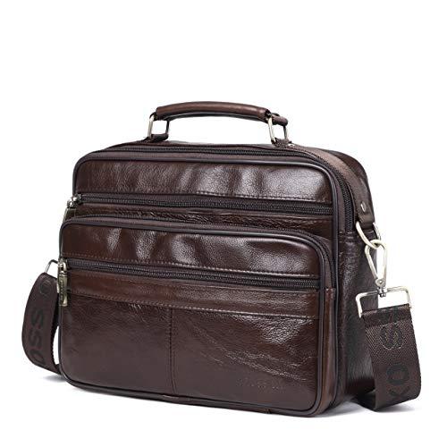 Bright Goog.yu Genuine Leather Bag Male Casual Crossbody Bag Fashion Mini Handbags Men Top Layer Cowhide Deep Coffee Shoulder Bags By Scientific Process Home