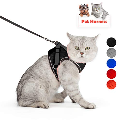 SENYE PET Cat Harness Escape Proof Small Cat and Dog Soft Mesh Vest Harnesses Adjustable Pet Harness with Leash Clip & Reflective Strap Cat Walking Jacket Comfort Fit for Kitten Puppy (S, Black) (Small Harness And Leash)