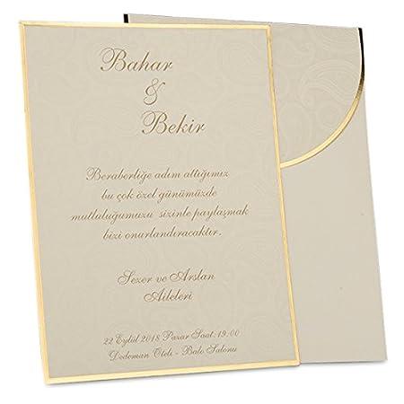 Weddix Evita de invitación de bodas, crema oro, juego de 3 ...