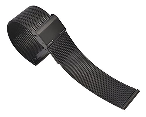 12mm Fantastic Black Mesh Wristwatch Replacement Bracelet Band 304 Solid Stainless Steel with Hook Buckle