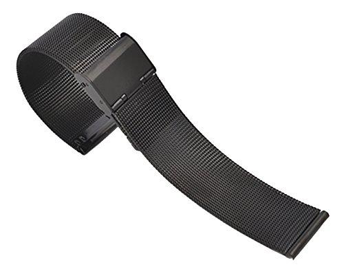 ng Mesh Stainless Steel Watch Strap Black Milanese Metal Watch Bracelet Straight End ()