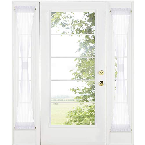 RYB HOME Sidelight Door Curtains for Front Door - White Sheer Drapes for Kitchen Window Privacy Voile for French Door Blinds with 2 Tie Backs, 30 inch Wide by 72 inch Long, Set of 2 (Door Front Drapes)