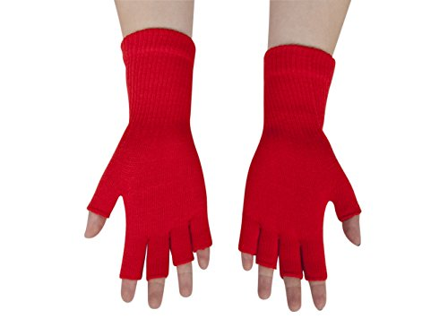 Gravity Threads Unisex Warm Half Finger Stretchy Knit Gloves, Red]()
