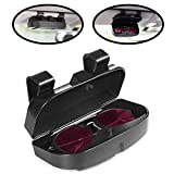 lebogner Car Sun Visor Sunglasses Case Holder, Eye Glasses Organizer Box with A Double Snap Clip Design, Includes 2 Gas or Credit Card Slots On The Outside, Fits All Vehicle Models, Easy Installation