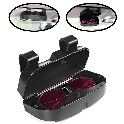 lebogner Car Sun Visor Sunglasses Case Holder, Eye Glasses Organizer Box with A Double Snap Clip Design, Includes 2 Gas or Credit Card Slots On The Outside, Fits All Vehicle ()
